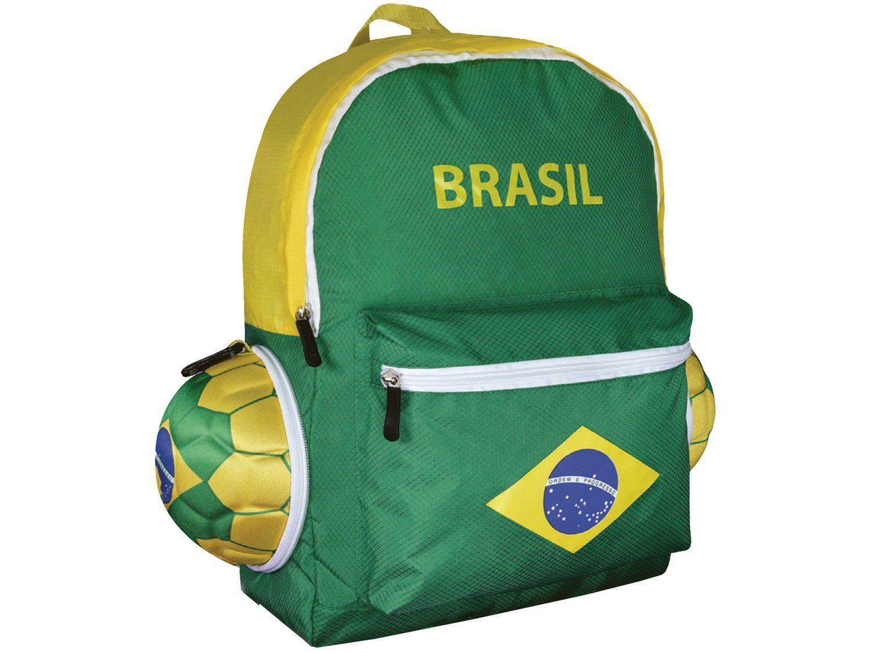 Mochila Escolar Maccabi Art 18L Brasil - Time de Futebol Verde e Amarelo