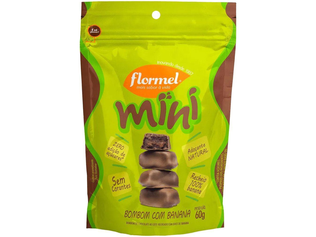 Mini Bombom Flormel Ao Leite com Recheio - de Doce de Banana Zero Açúcar 60g