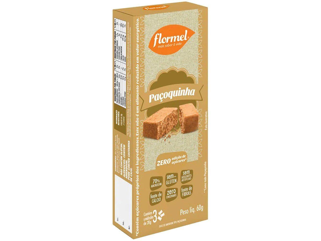 Paçoca Tablete Tradicional Flormel Zero Açúcar 60g