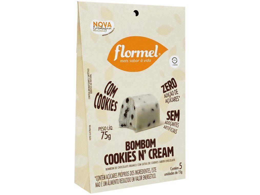 Bombom Flormel Cookies n Cream Branco - Zero Açúcar 75g