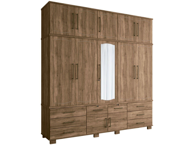 Guarda-roupa Casal com Espelho 12 Portas - 8 Gavetas Santos Andirá Londres