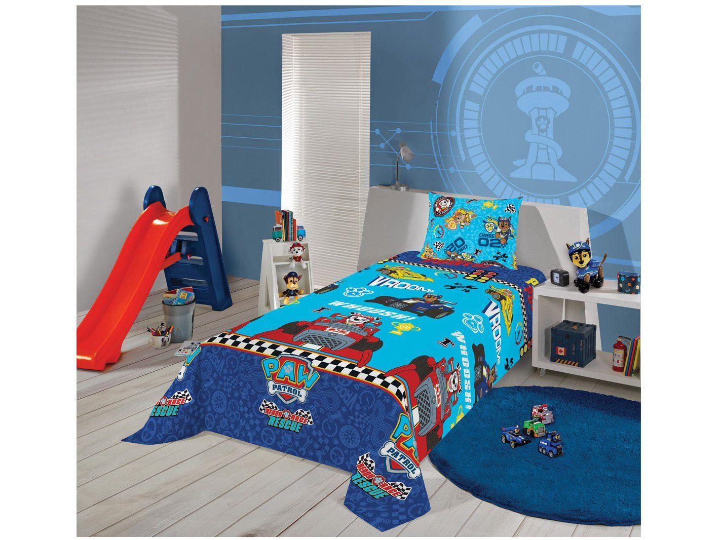 Jogo de Cama Infantil Solteiro Lepper Microfibra - Patrulha Canina Azul 2 Peças