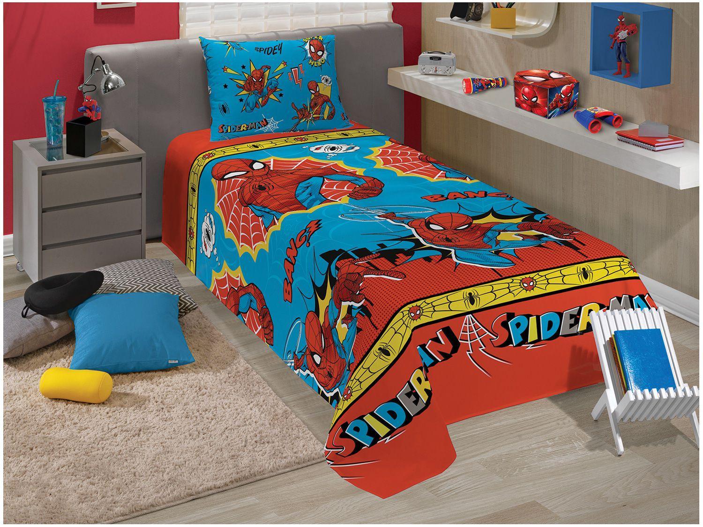Jogo de Cama Infantil Solteiro Lepper Microfibra - Homem Aranha Azul 2 Peças