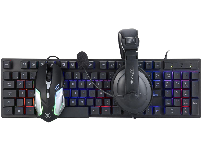 Kit Gamer RGB Teclado Mouse Headset Bright 543