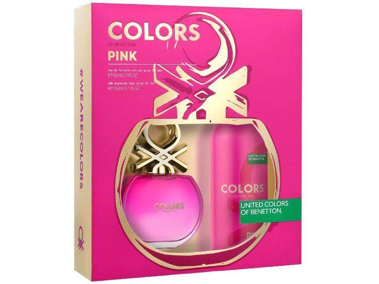 Kit Perfume Benetton Colors Pink Feminino 80ml - Eau de Toilette com Desodorante 2 Unidades