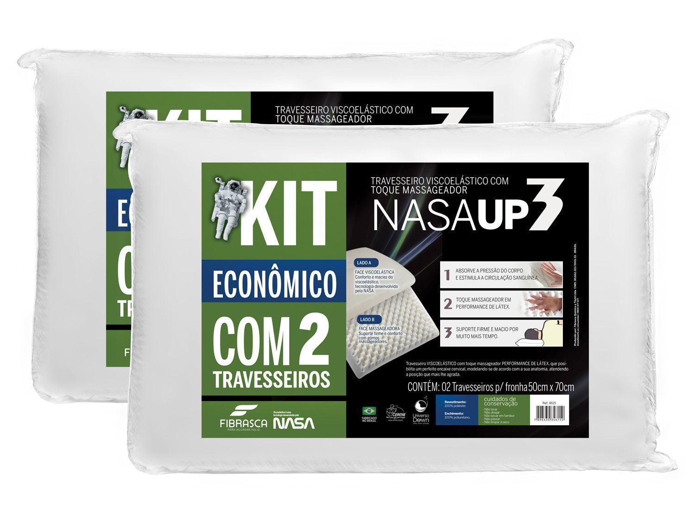 Kit Travesseiro Nasa de Cabeça Fibrasca - Viscoelástico 2 Peças