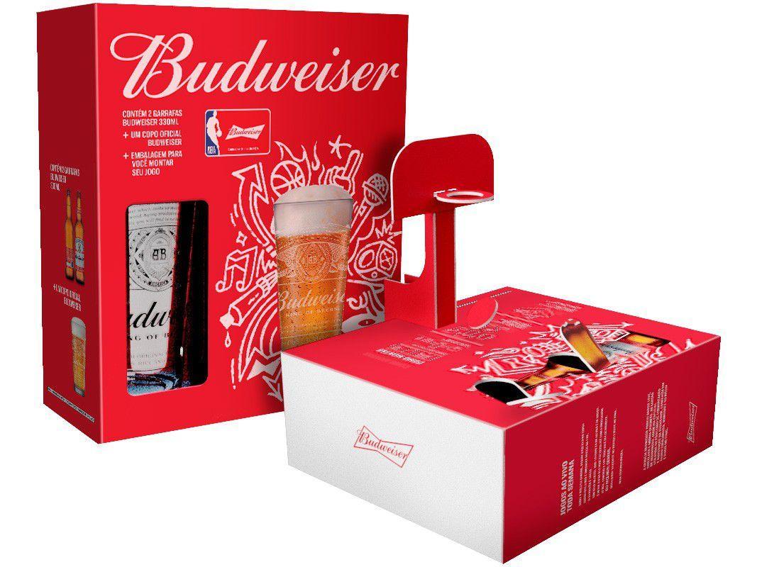 Kit Cerveja Budweiser NBA 2 Unidades 330ml Cada - com 1 Copo