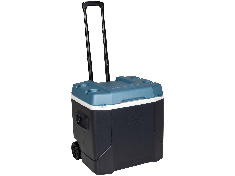 Caixa Térmica Igloo 51L com Rodas - Maxcold Profile Roller Preto e Turquesa