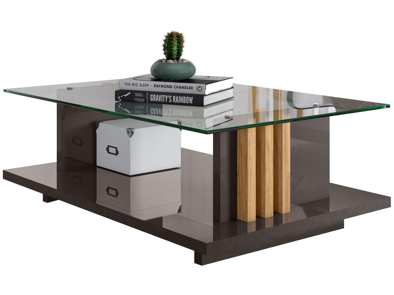 Mesa de Centro com Tampo de Vidro Frizz Madetec
