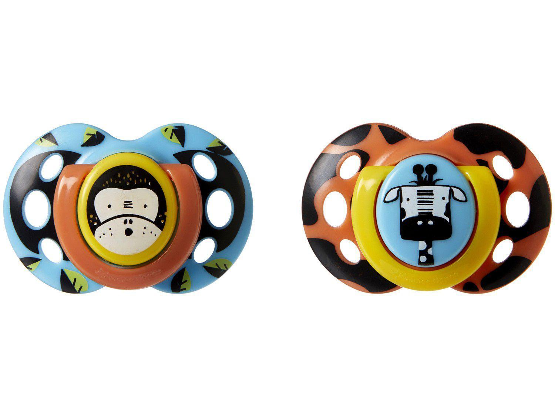 Kit Chupeta Silicone Ortodôntico e Simétrico - Tommee Tippee Fun Style Animais 18 - 36 meses