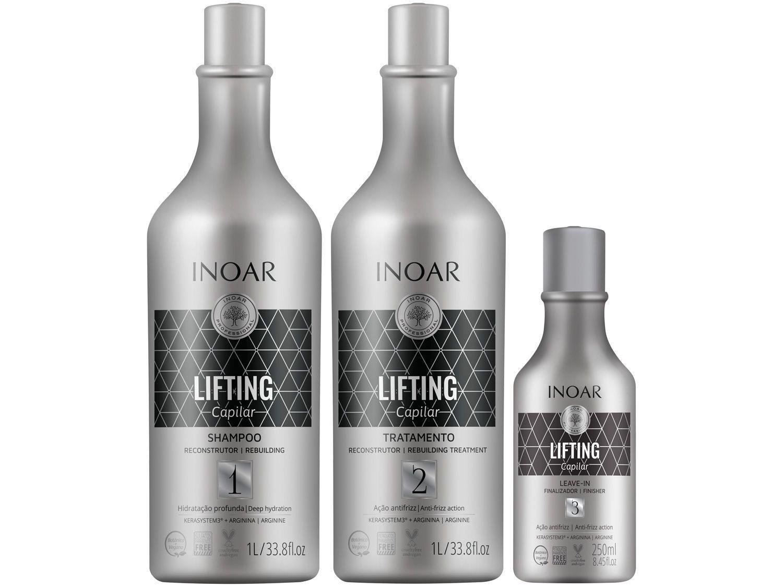 Kit de Tratamento Capilar Inoar Lifting - Shampoo Creme de Tratamento e Leave-in