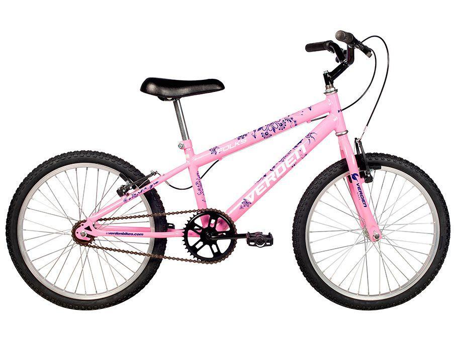 Bicicleta Infantil Aro 20 Verden Folks Rosa - Freio V-Brake