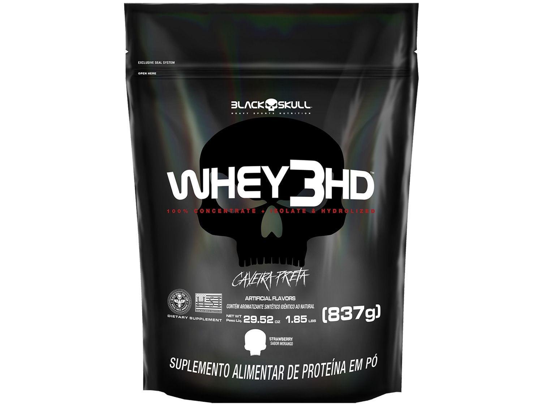 Whey Protein Concentrado Hidrolisado Isolado - Black Skull 3 HD 837g Morango