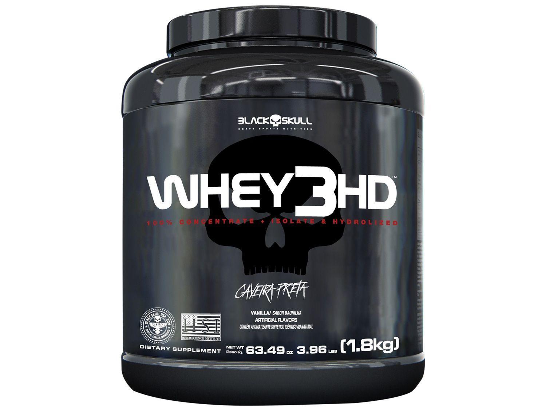 Whey Protein Concentrado Hidrolisado Isolado - Black Skull 3 HD 1,8kg Baunilha