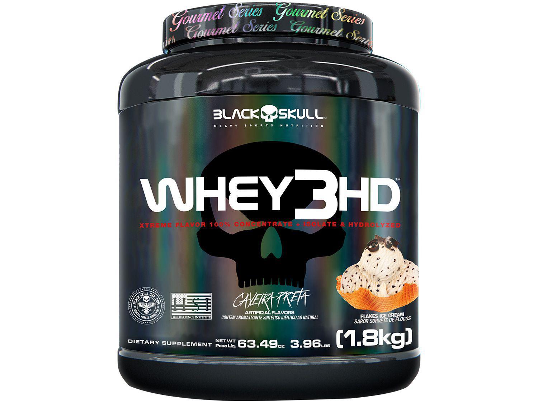 Whey Protein Concentrado Hidrolisado Isolado - Black Skull 3 HD Gourmet 1,8kg Sorvete de Flocos
