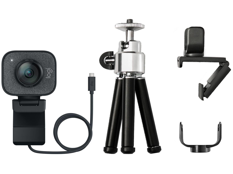 Webcam Logitech Full HD com Microfone - Transmissão Ao Vivo Streamcam Plus