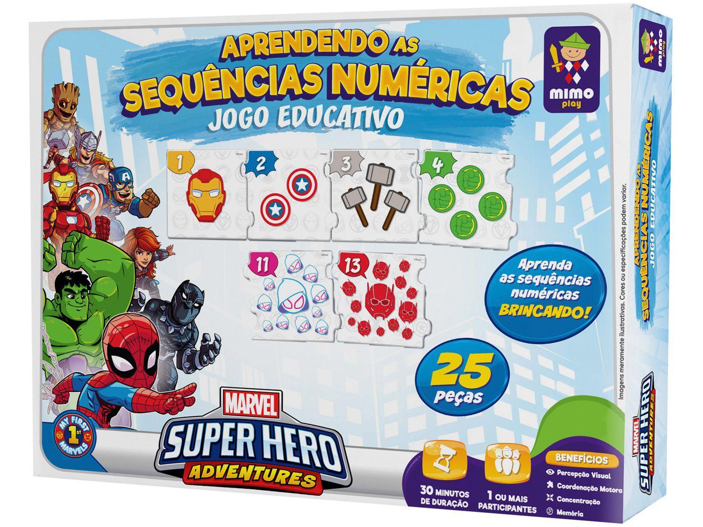 Jogo Aprendendo as Sequências Numéricas - Marvel Super Hero Adventures Mimo Toys