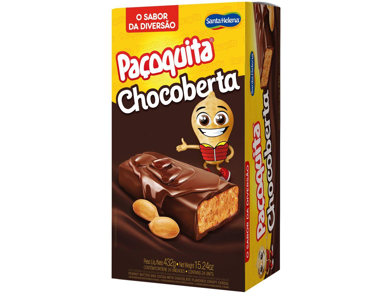 Paçoca com Cobertura de Chocolate Santa Helena - Paçoquita Chocoberta 24 Unidades 18g Cada