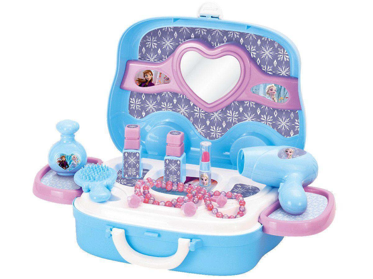 Kit Salão de Beleza de Brinquedo Disney Frozen - Maleta Beleza com Acessórios Fun 12 Peças