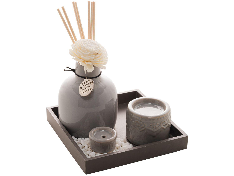 Porta Incenso Cerâmica Madeira e Bambu 4593 - com Suporte House