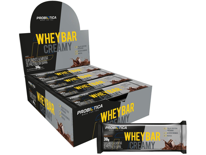 Barra de Proteína Probiótica Whey Bar Creamy - Chocolate Integral 38g 12 Unidades