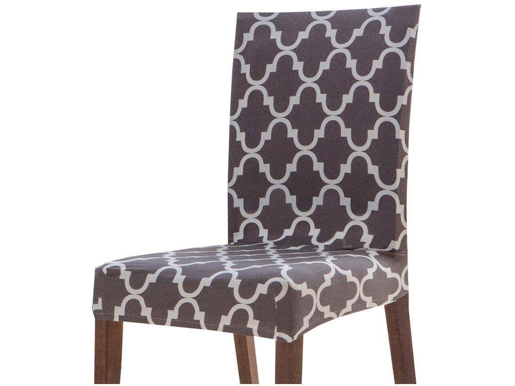 Capa para Cadeira Geométrica Cinza e Branco - Jolitex 6 Peças