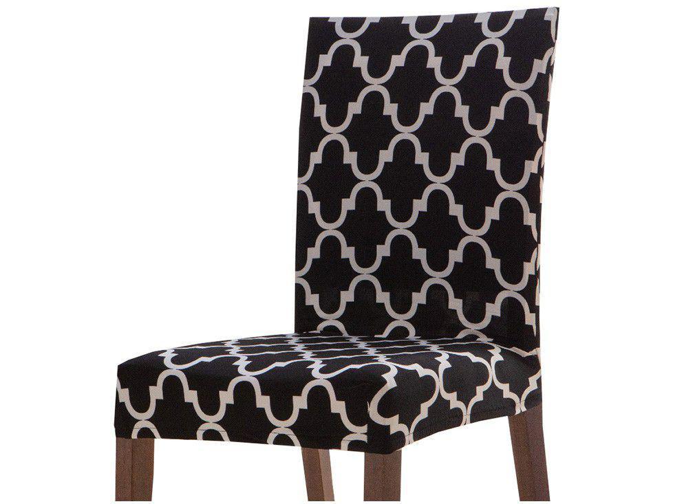 Capa para Cadeira Geométrica Preto e Branco - Jolitex 6 Peças