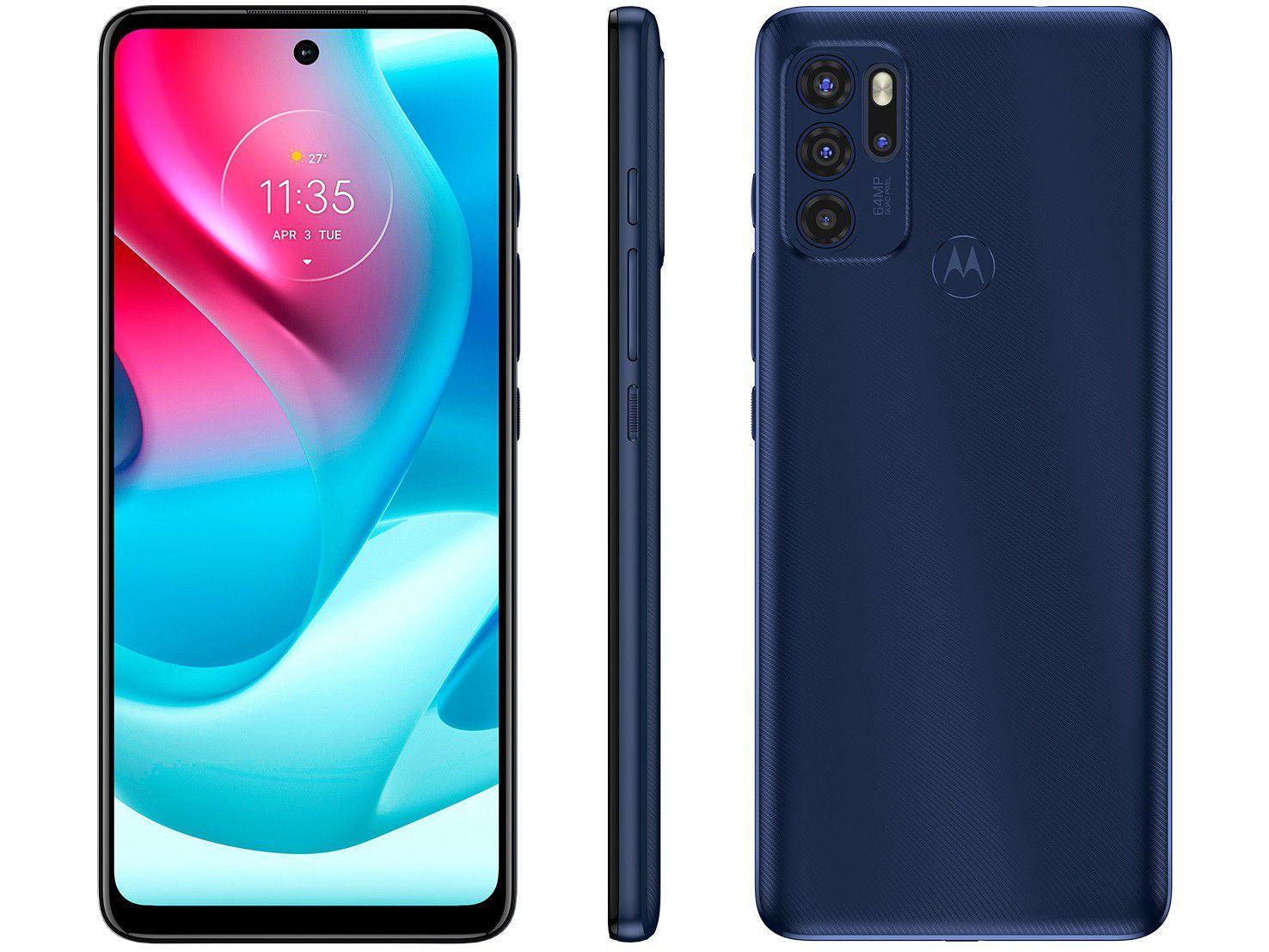 "Smartphone Motorola G60s 128GB Azul 4G - 6GB RAM Tela 6,8"" Câm. Quádrupla + Selfie 16M"