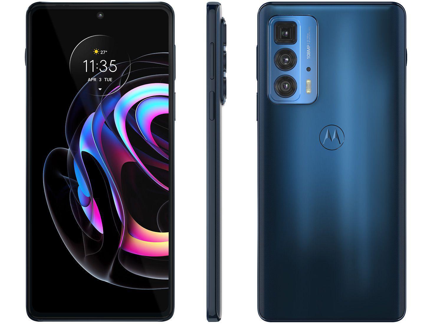 "Smartphone Motorola Edge 20 Pro 256GB Azul 5G - 12GB RAM Tela 6,7"" Câm. Tripla + Selfie 32MP"