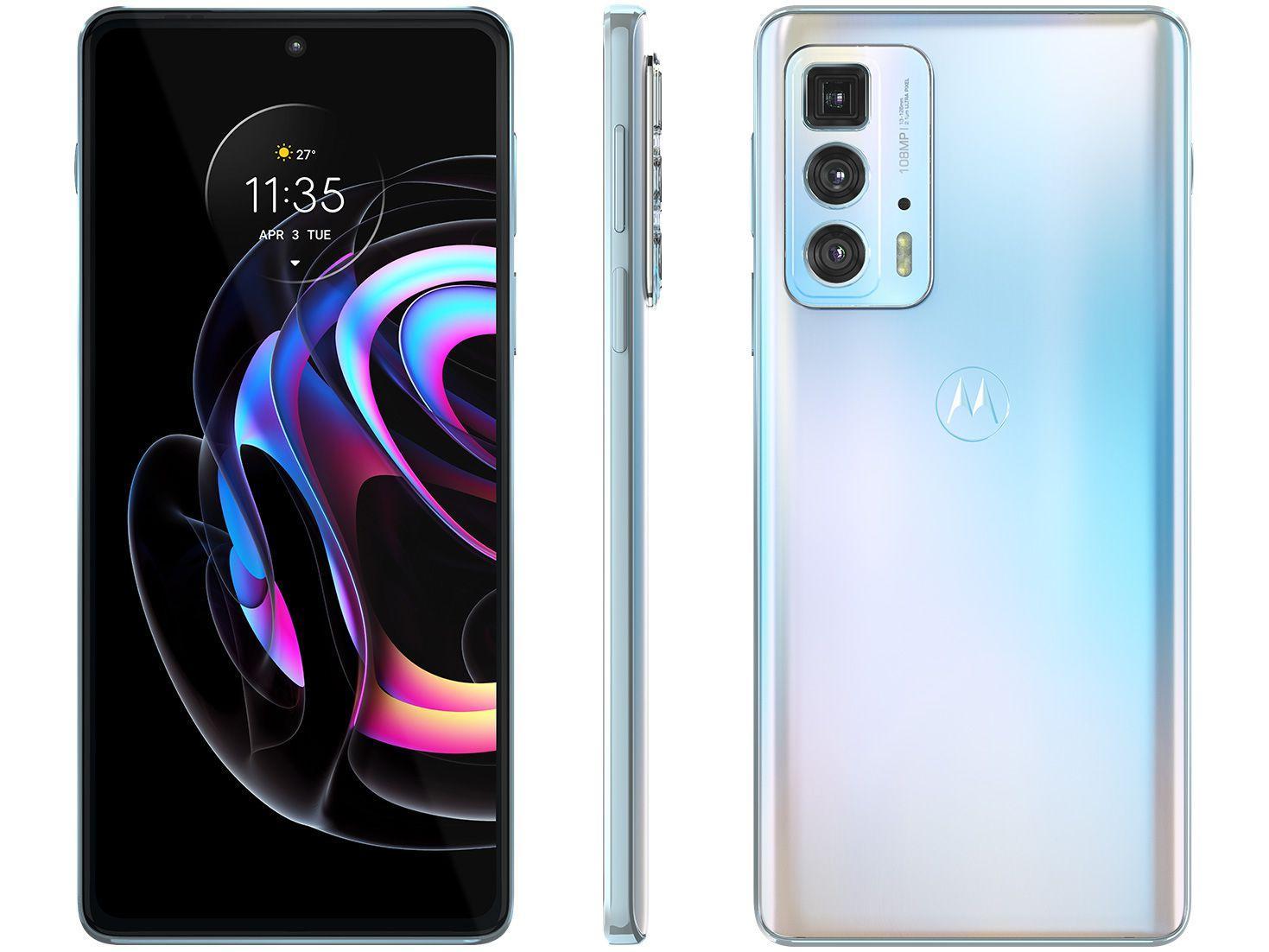 "Smartphone Motorola Edge 20 Pro 256GB Branco 5G - 12GB RAM Tela 6,7"" Câm. Tripla + Selfie 32MP"