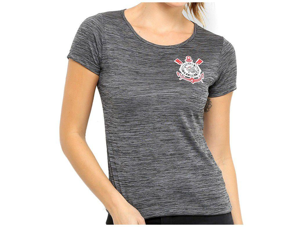 Camiseta SPR Corinthians Fio Tinto Clever - Feminina Manga Curta Mescla Escuro