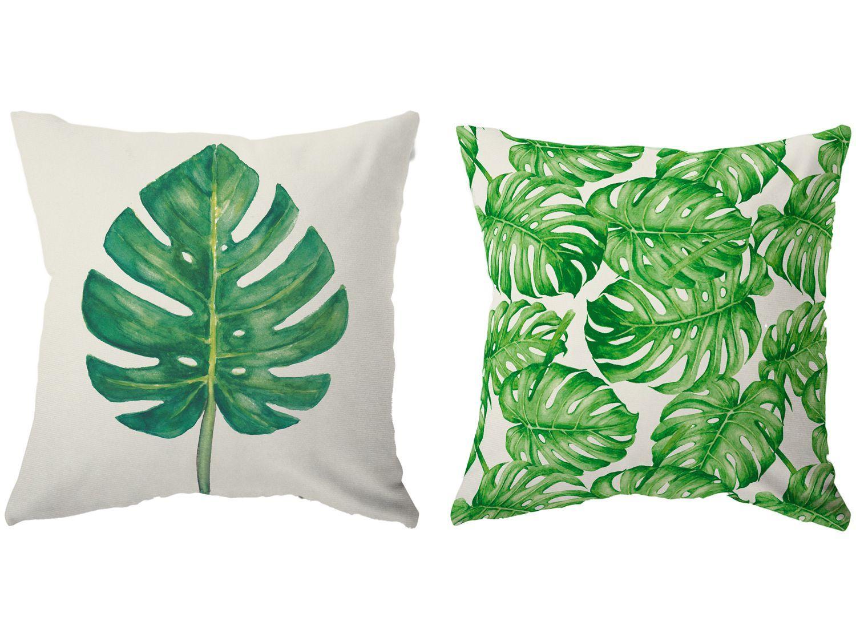 Capa de Almofada 42x42cm Design Up Living Tropical - Costela de Adão Folhas Branco 2 Peças