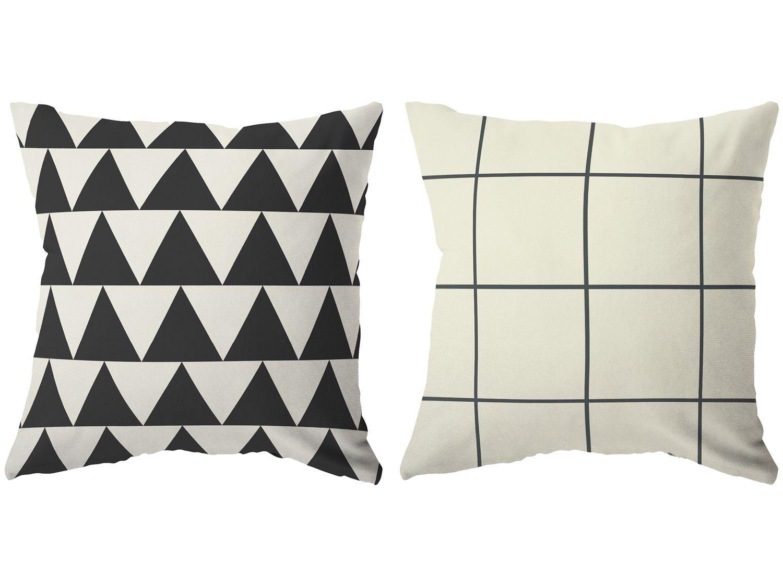 Capa de Almofada 42x42cm Design Up Living - Black Geometric Formas Preto 2 Peças