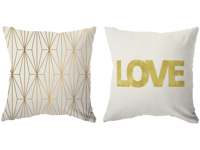 Capa de Almofada 42x42cm Design Up Living - White & Gold Love Geométrica Colorido 2 Peças