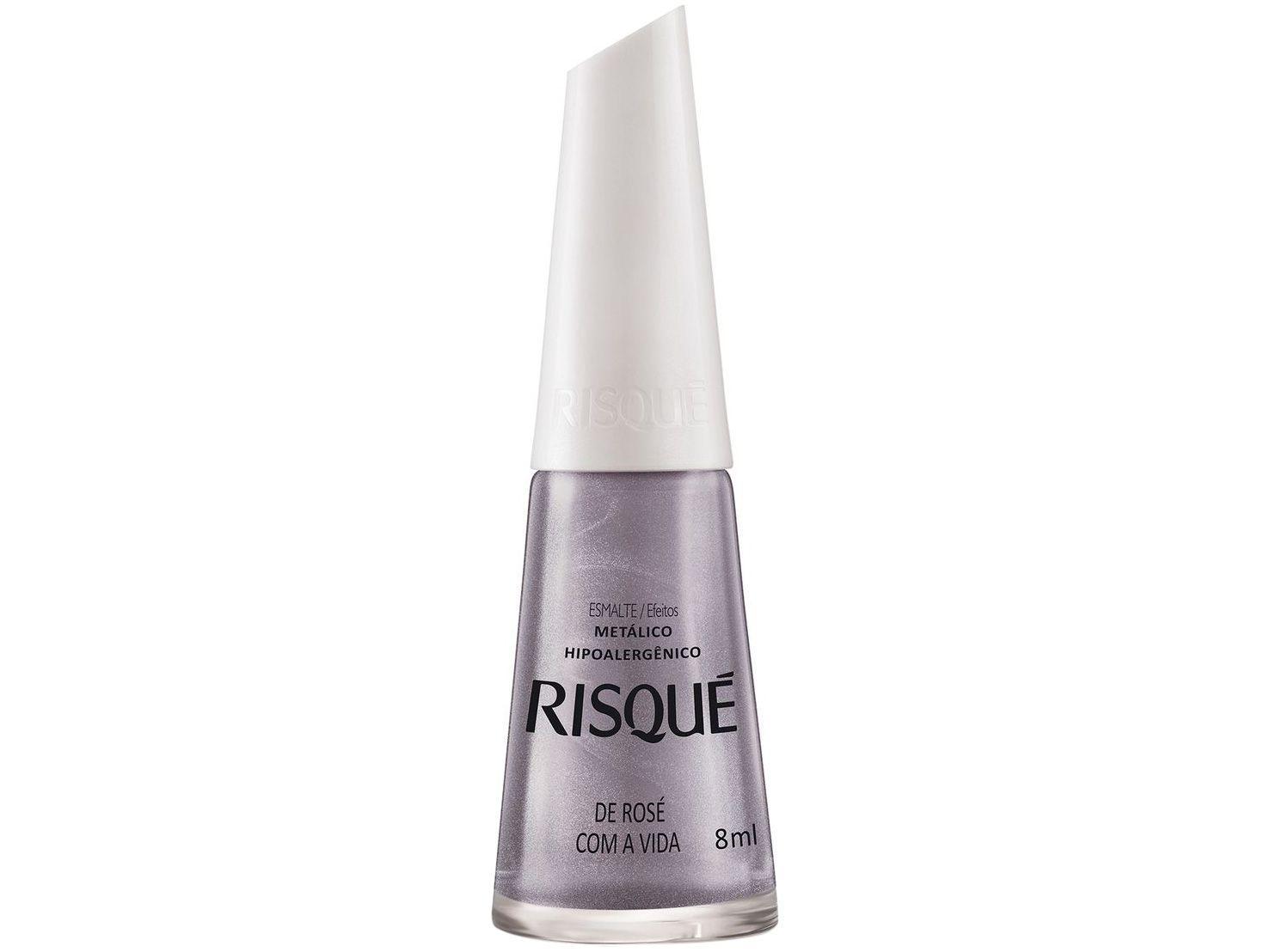 Esmalte Risqué De Rosé com a Vida Metálico - Hipoalergênico 8ml