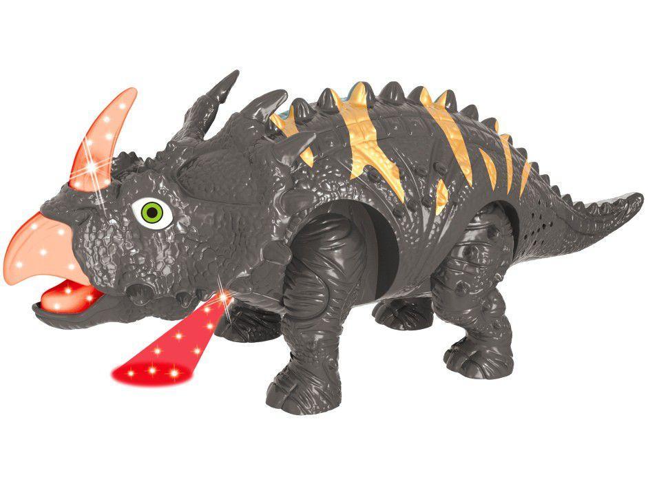 Dinossauro Triceratops Emite Som e Luz 10cm - Pais e Filhos