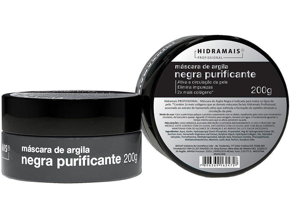 Máscara Facial Hidramais Profissional - Argila Negra Purificante 200g