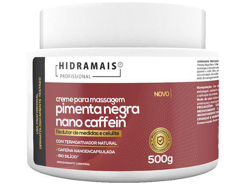 Creme de Massagem Redução de Medidas e Celulite - Hidramais Profissional Pimenta Negra Nano Caffein