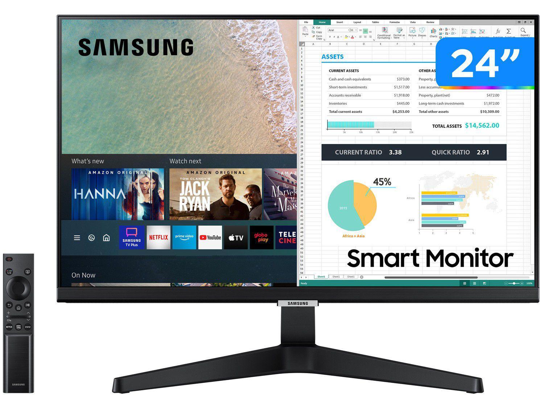 """Monitor Full HD Samsung M5 LS24AM506NLMZD - 24"""" IPS LED HDMI Smart"""