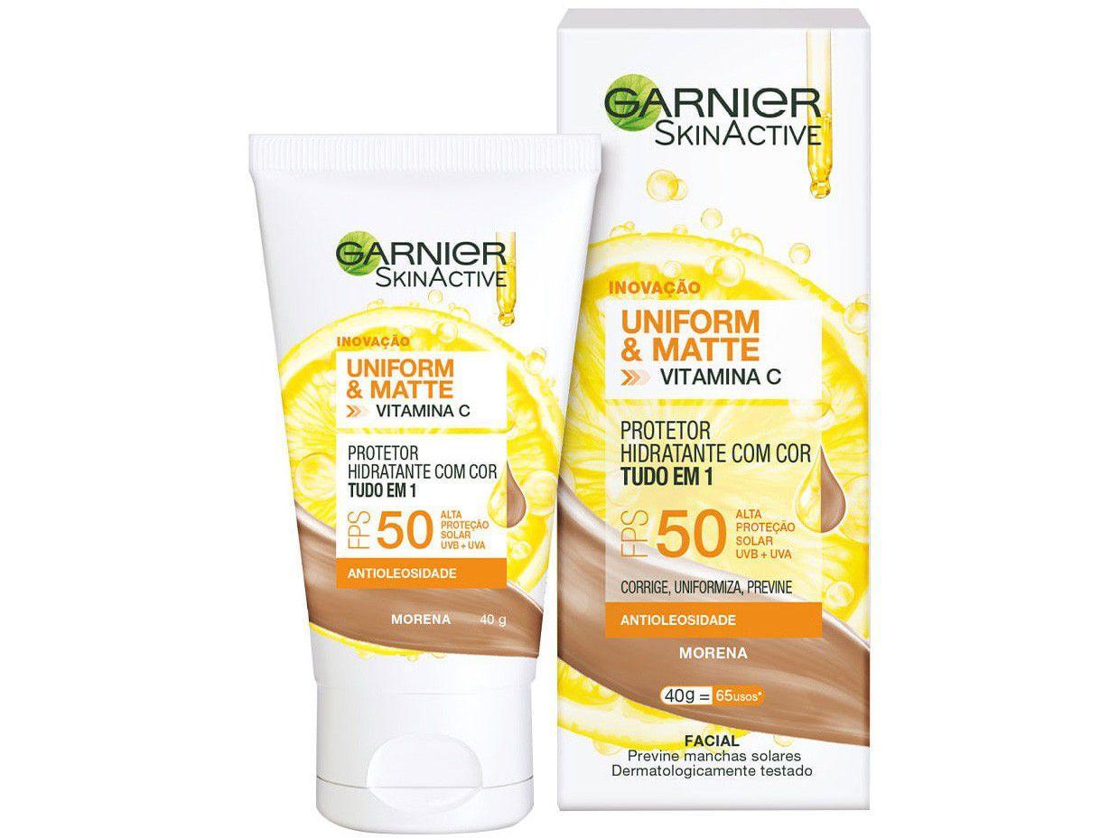 Protetor Solar Facial Garnier FPS 50 com Cor - Garnier SkinActive Vitamina C Uniform e Matte 30g