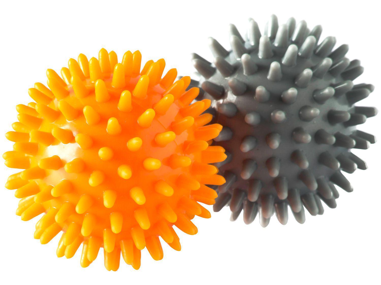 Bolinha de Massagem 6,5cm Vollo Sports VP1058 - Cinza e Laranja 2 Unidades