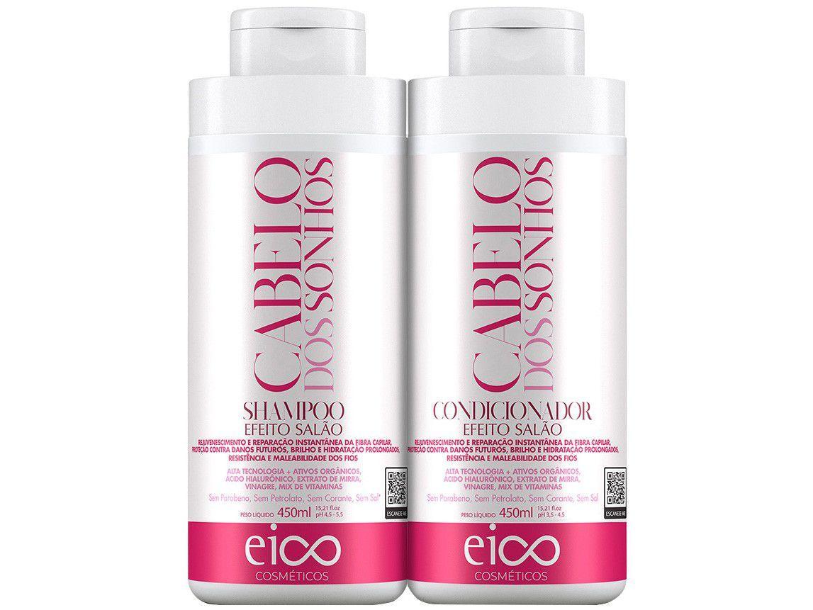 Shampoo e Condicionador Eico Cosméticos - Cabelos dos Sonhos EC501 450ml Cada
