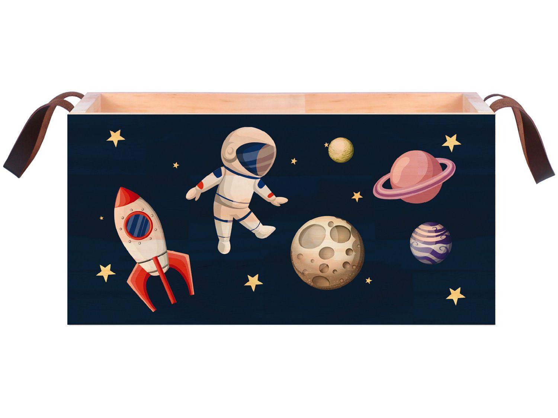 Caixa Organizadora Média de Madeira com Alça - Design Up Living Astronautas Colorido