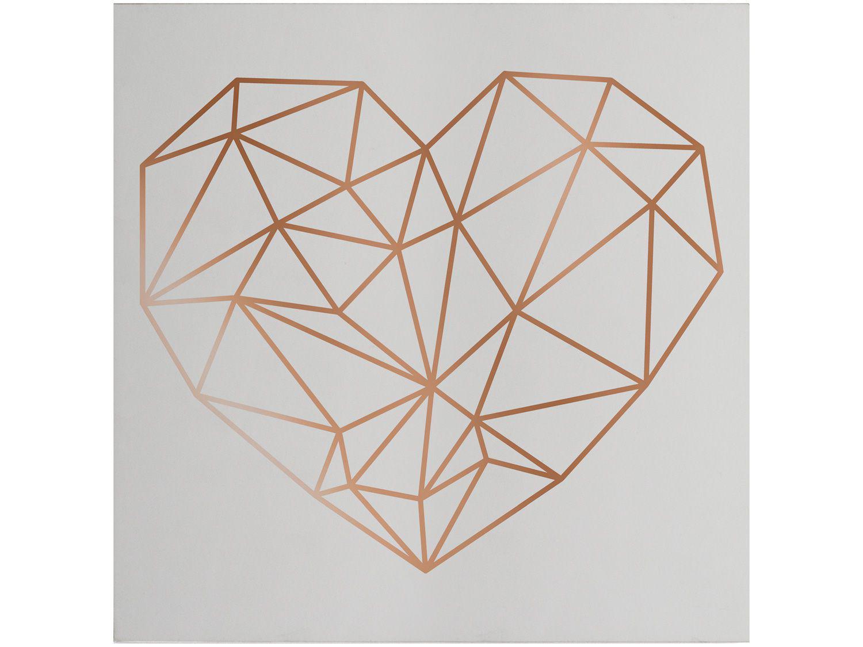 Placa Decorativa MDF Coração Gold 29x29cm - Design Up Living