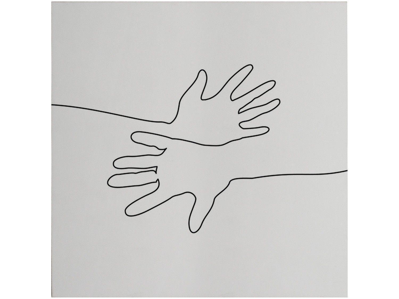 Placa Decorativa MDF Minimalistas Mãos Linhas - 29x29cm Design Up Living