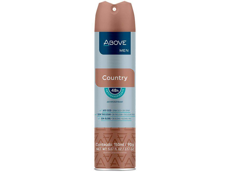 Desodorante Antitranspirante Aerossol Vegano - Above Clássicos Country Masculino Amadeirado 150ml