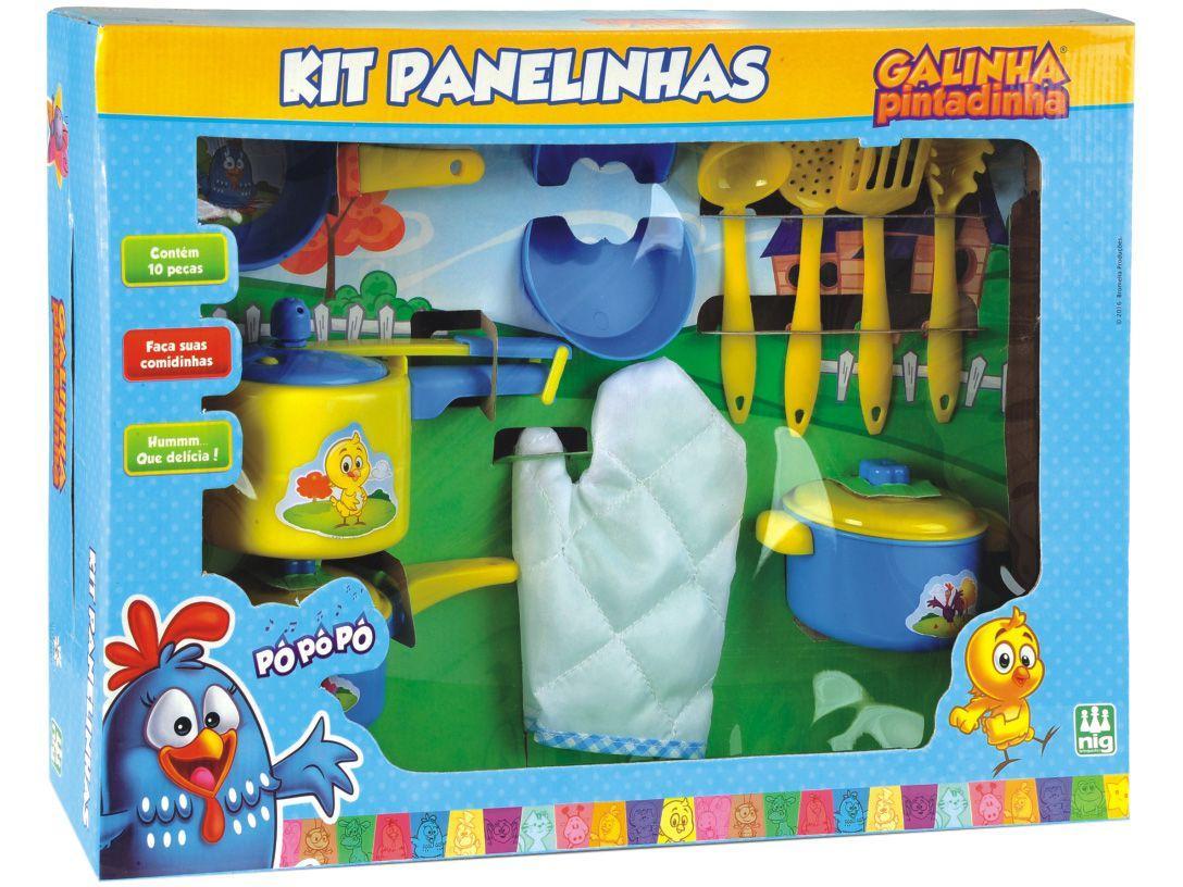 Panelinhas de Brinquedo Galinha Pintadinha - Brinquedos de Cozinha Nig 10 Peças
