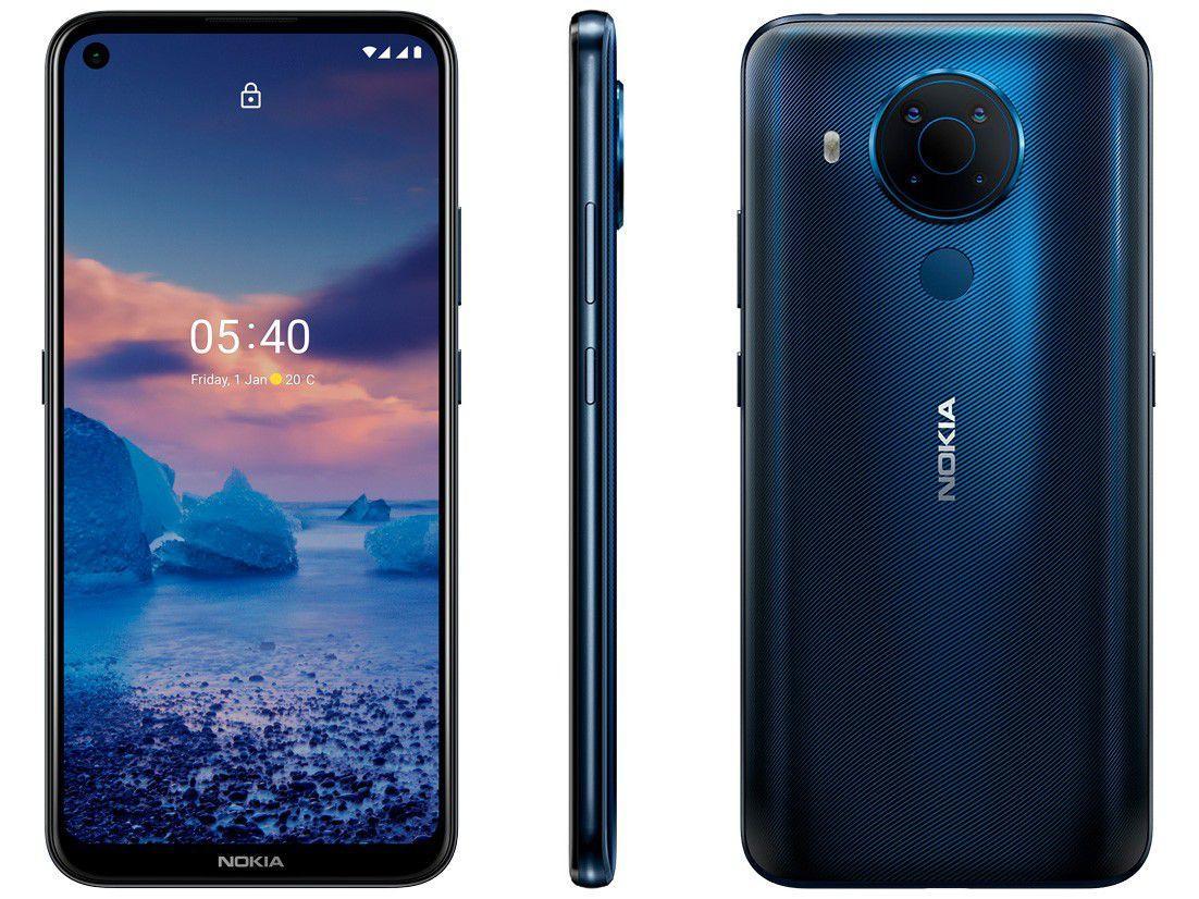 """Smartphone Nokia 5.4 128GB Azul 4G 4GB RAM - Octa-Core Tela 6,39"""" Câm. Quádrupla + Selfie"""
