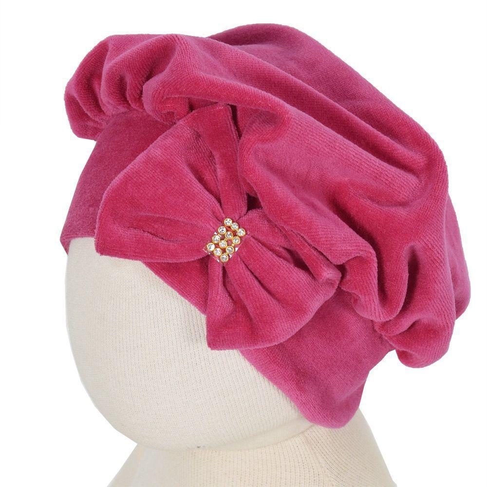 99044e67b0c21c Touca Infantil Feminina Com Laço - Rosa Escura - Paraíso Rosa Escuro ...