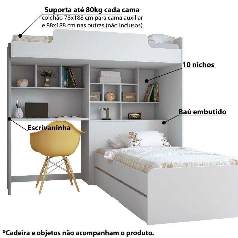 04afbf9c74 Treliche Office Teen New com Báu e Escrivaninha - Branco - Santos andirá R   1.239
